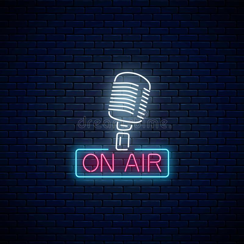 Neon on the air sign with retro microphone. Glowing signboard of radio station. Sound cafe icon. Neon on the air sign with retro microphone on dark brick wall royalty free illustration