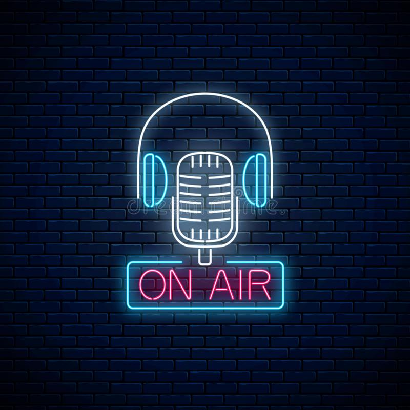 Neon on the air sign with retro microphone and headphones. Glowing signboard of radio station. Music show poster stock illustration