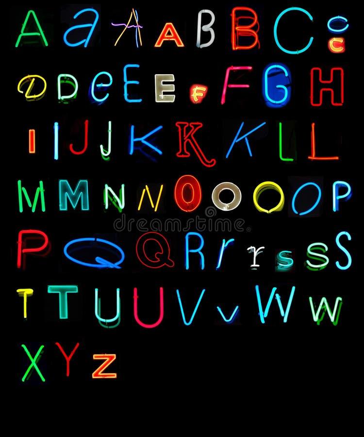 Neon Alphabet royalty free stock photos