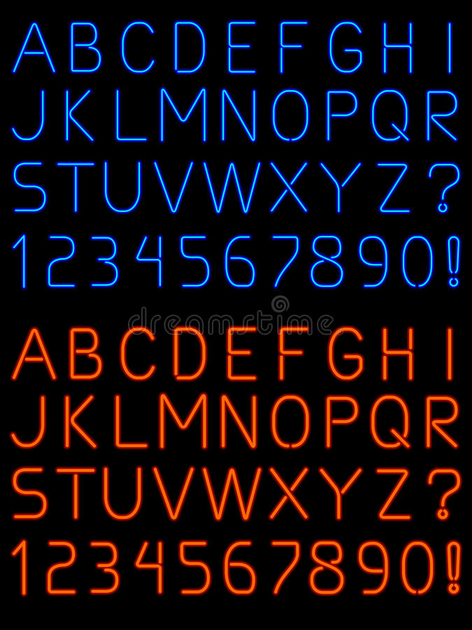 Neon alphabet font royalty free illustration