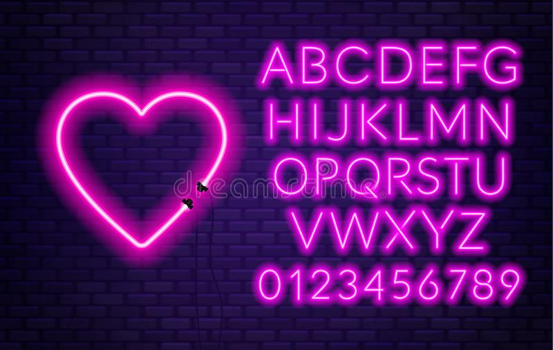 Neon alphabet with heart on brick wall background. stock illustration
