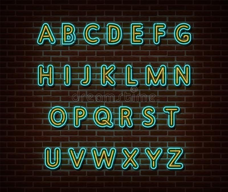 Neon alphabet type font vector isolated on brick wall. ABC typography letters light symbol, decoration text effect. Neon alphabet. Font illustration web icon royalty free stock image