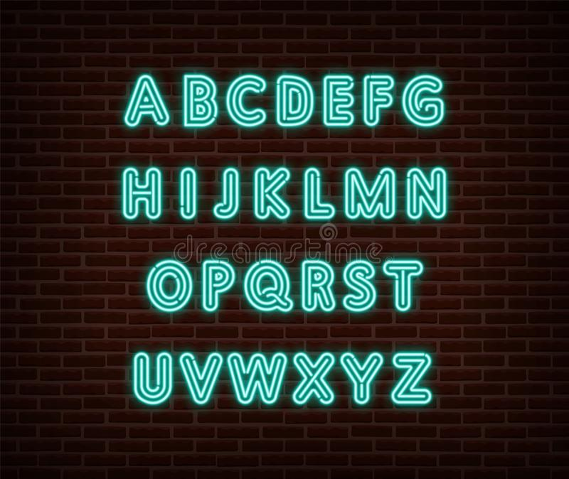 Neon alphabet type font vector isolated on brick wall. ABC typography letters light symbol, decoration text effect. Neon alphabet. Font illustration web icon vector illustration