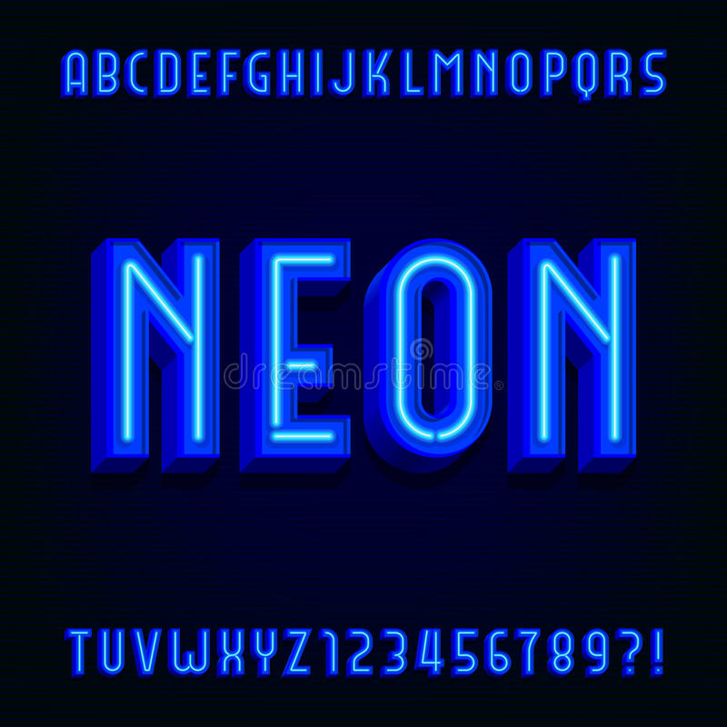 Neon alphabet vector font. 3D type letters with blue neon tubes and shadows. Vector typeface for your design royalty free illustration