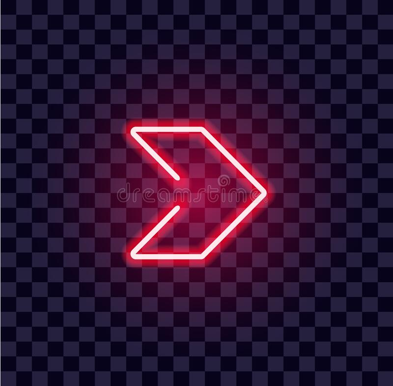 Free Neon Arrow Luminous Indicator Neon Tube Showing Right Direction To Right Side Glowing Vector Icon On Transparent Royalty Free Stock Photography - 181440767