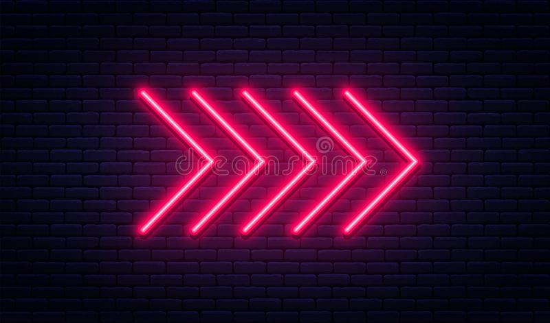 Neon arrow sign. Glowing neon arrow pointer on brick wall background. Retro signboard with bright neon tubes. Vector vector illustration