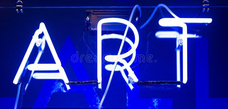Neon Art Sign. Illuminated Blue Neon Art Sign royalty free stock photo