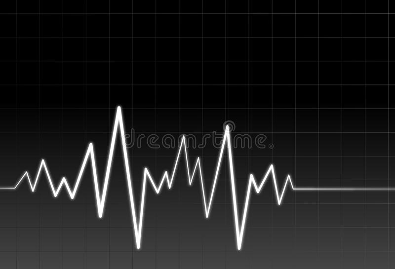 Neon audio or pulse wave stock illustration
