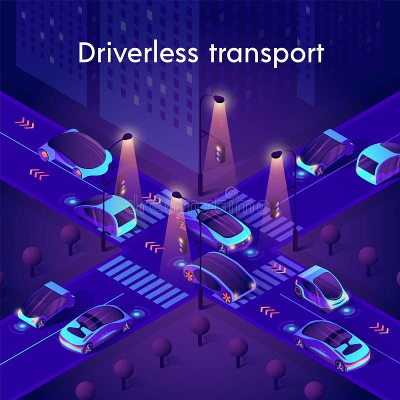 Neon Autonomiczne samochody inteligentne royalty ilustracja