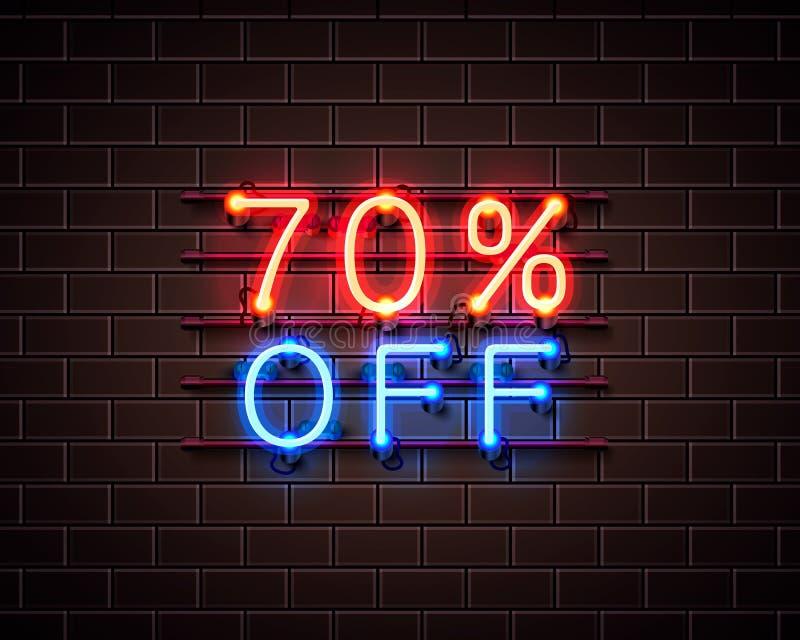 Neon 70 av textbaner Natttecken vektor royaltyfri illustrationer