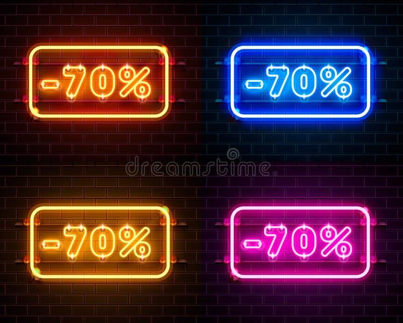 Neon 70 av uppsättning för textbanerfärg Natttecken stock illustrationer