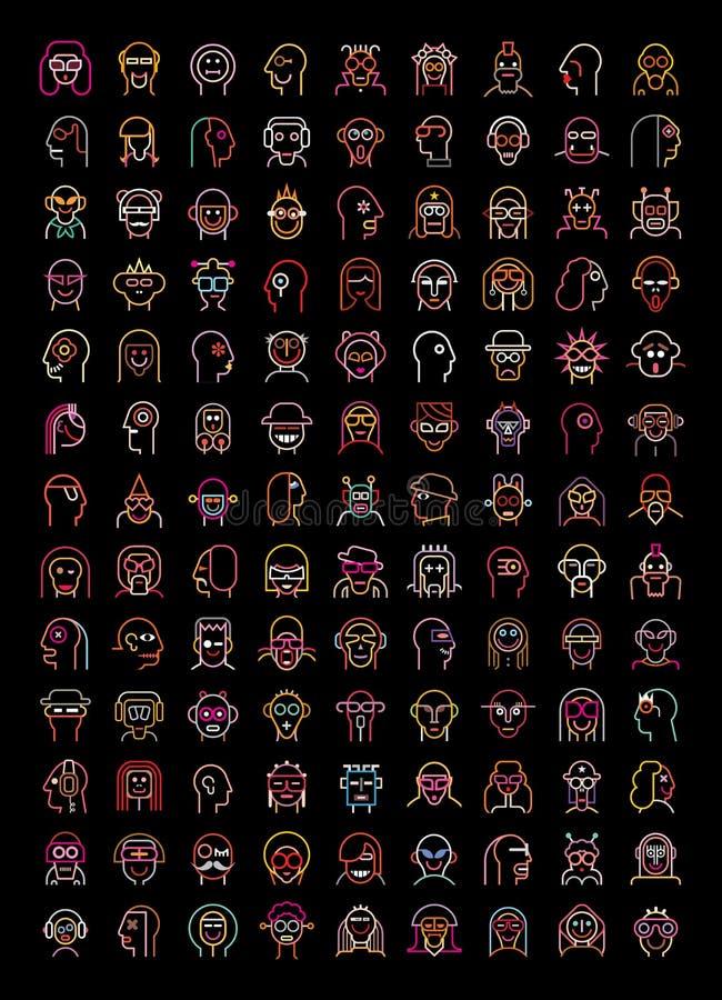 Neon avatars stock illustration
