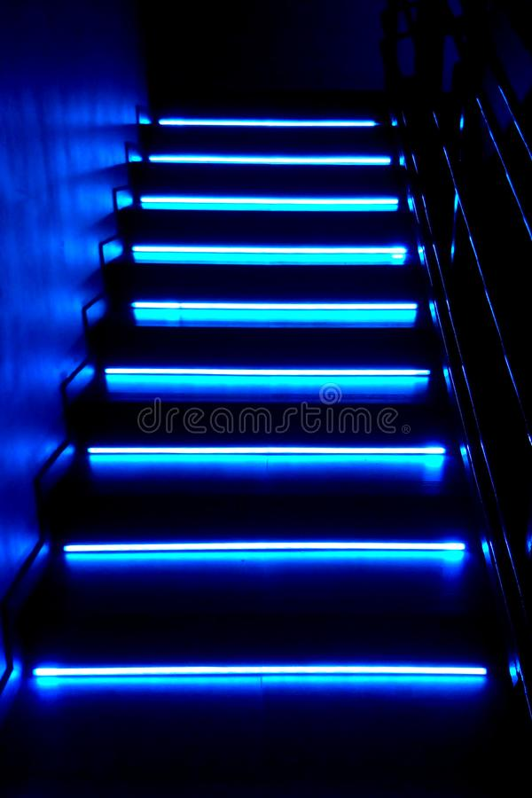 Free Neon Background. Dark Blue Stairs. Night Club, Bar, Quest, Concert Royalty Free Stock Image - 156829396