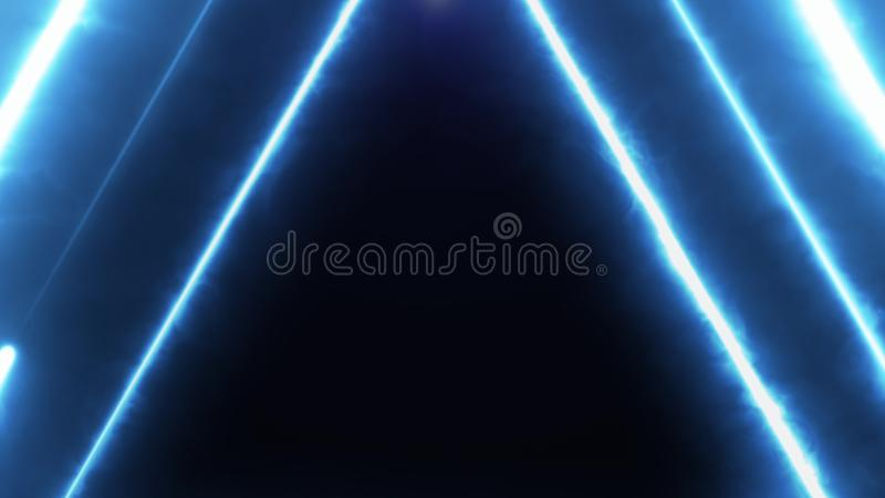 Neon bakcground flying through edless glowing rotating neon triangles creating a tunnel, blue red pink violet spectrum. Fluorescent 3d rendering infinity light vector illustration
