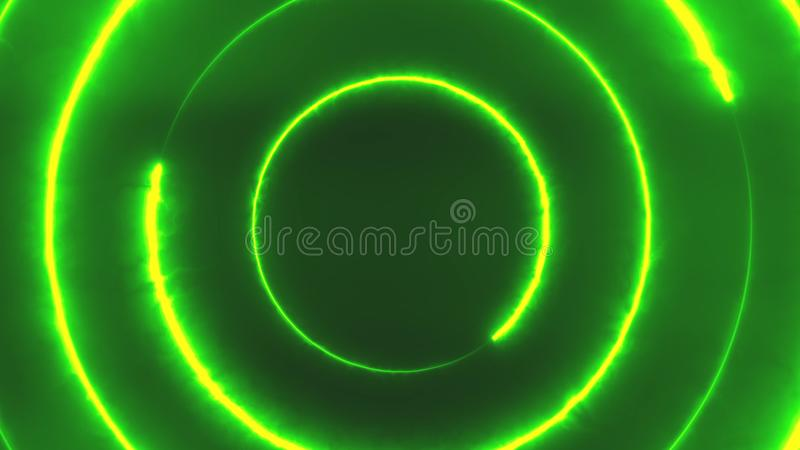 Neon bakcground flying through edless glowing rotating neon triangles creating a tunnel, green violet spectrum. Fluorescent 3d rendering infinity light, modern stock illustration