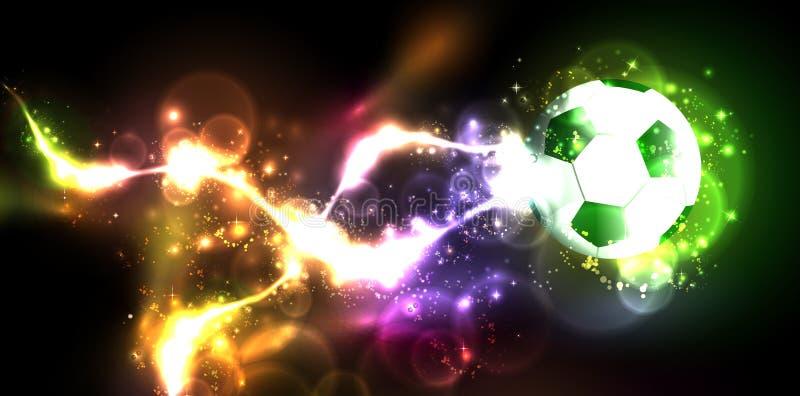 Neon banner football royalty free illustration