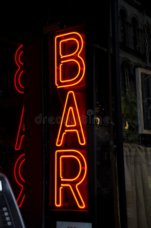 Neon Bar Sign stock images