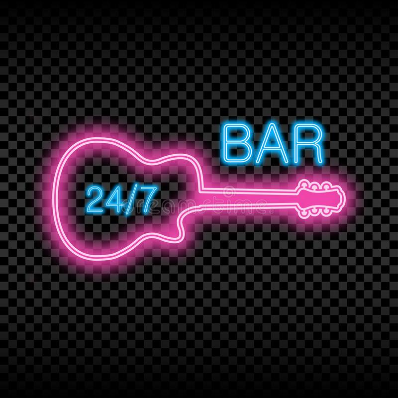 Neon bar sign with guitar. Glowing and shining bright signboard of opened bar. Vector. Neon bar sign with guitar. Glowing and shining bright signboard of opened vector illustration