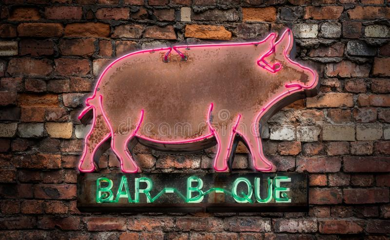 Neon Barbecue Diner Sign stock photography