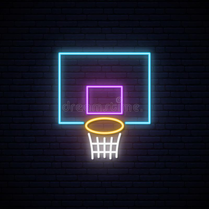 Neon basketball basket sign. royalty free illustration