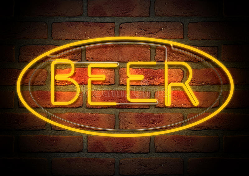 Neon Beer Sign on A Face Brick Wall royalty free illustration