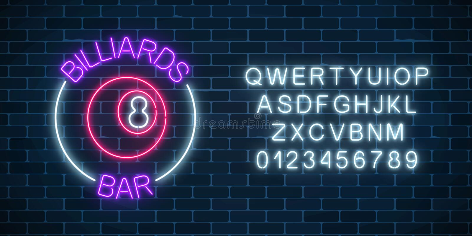 Neon billiards bar sign with alphabet on a brick wall background. Glowing billiard ball with 8 number. Night advertising symbol of taproom with pool game vector illustration