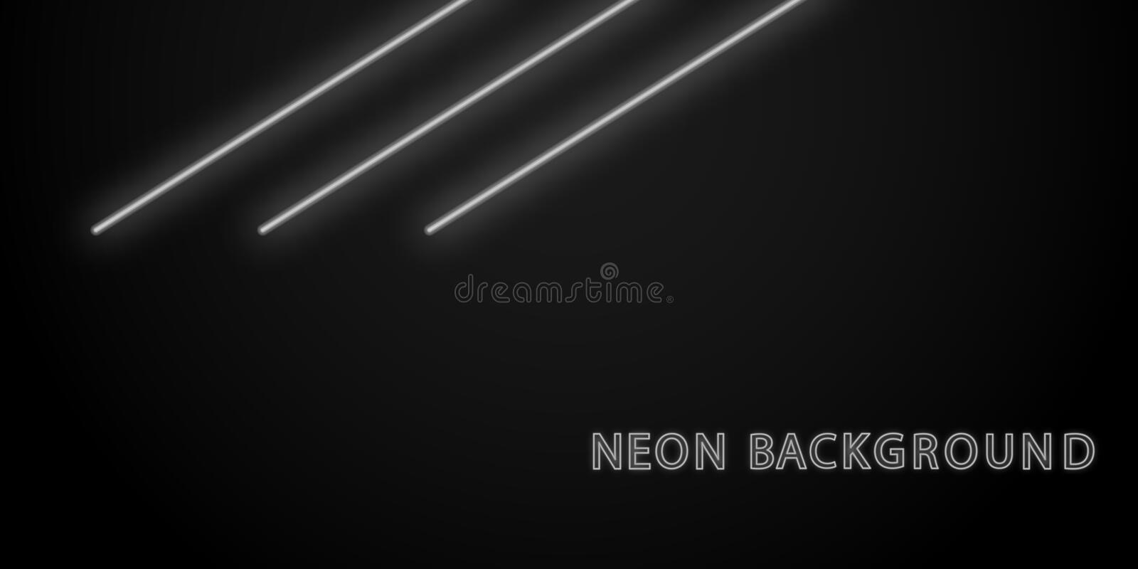 Neon black line light white background illustration. Element of neon background vector illustration