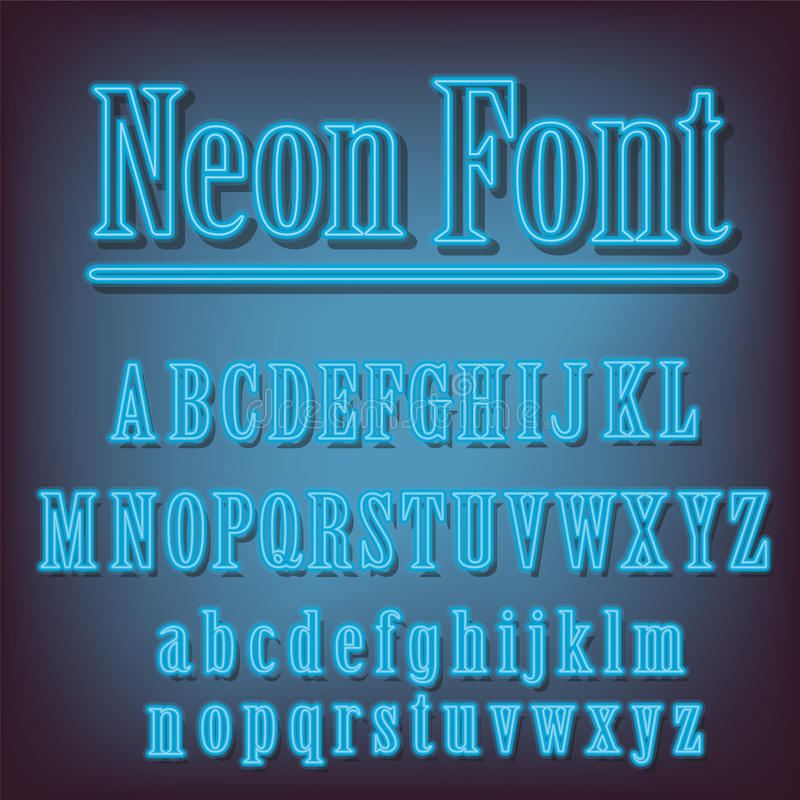 Neon blauw alfabet stock illustratie