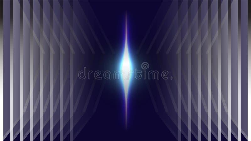 Neon blauwe lichte ruimte abstracte achtergrond royalty-vrije illustratie
