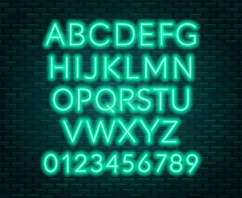 Neon blue alphabet on brick wall background. Capital letter. Vector illustration royalty free illustration