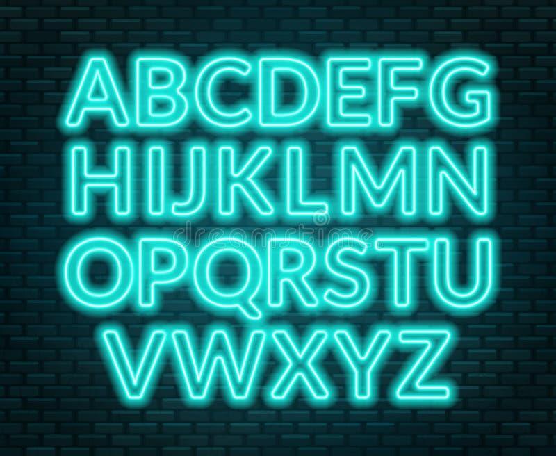 Neon blue alphabet on brick wall background. Capital letter. Vector illustration vector illustration