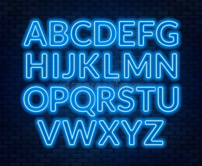 Neon blue alphabet on brick wall background. Capital letter. Vector illustration stock illustration