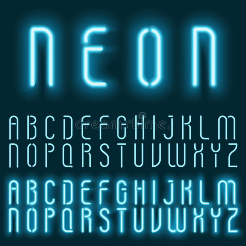 Neon blue light alphabet vector font. Glowing text effect. Neon tube letters on the dark blue background. royalty free illustration