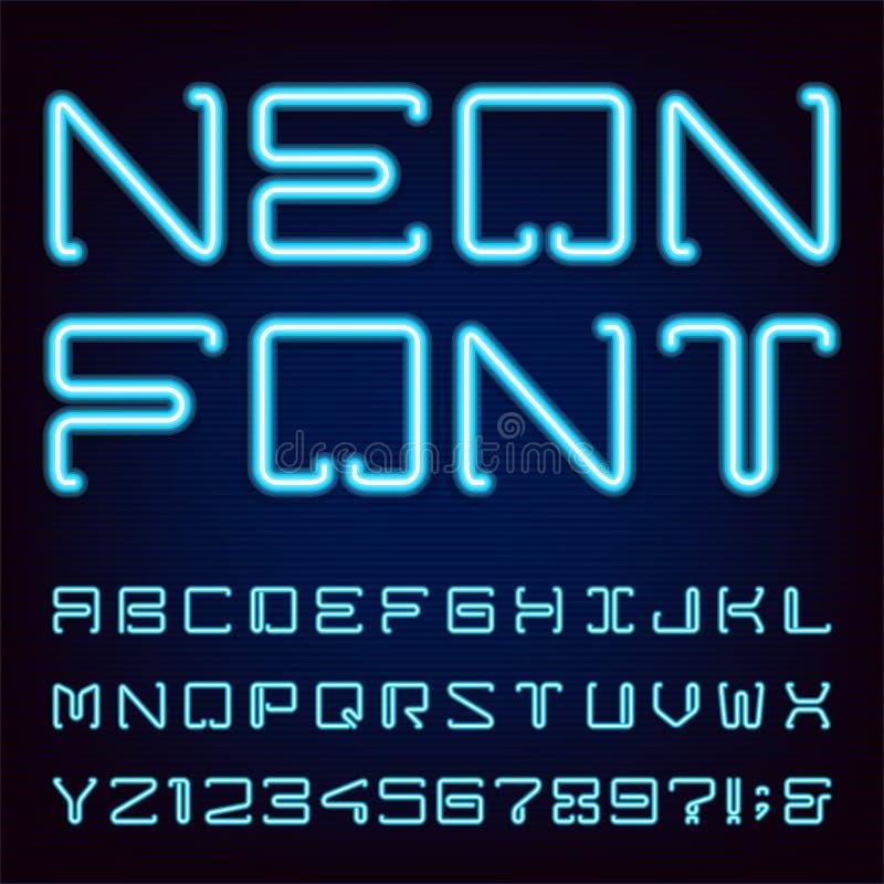 Neon Blue Light Alphabet Vector Font. royalty free illustration