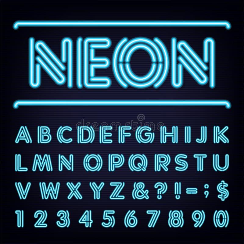 Neon Blue Light Alphabet Vector Font. vector illustration