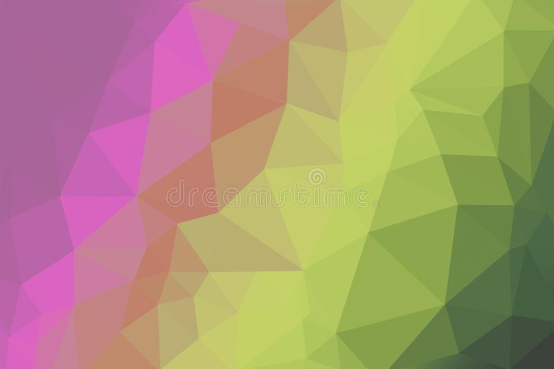 Neon bright coloured gradient triangle background, abstract polygon pattern stock illustration