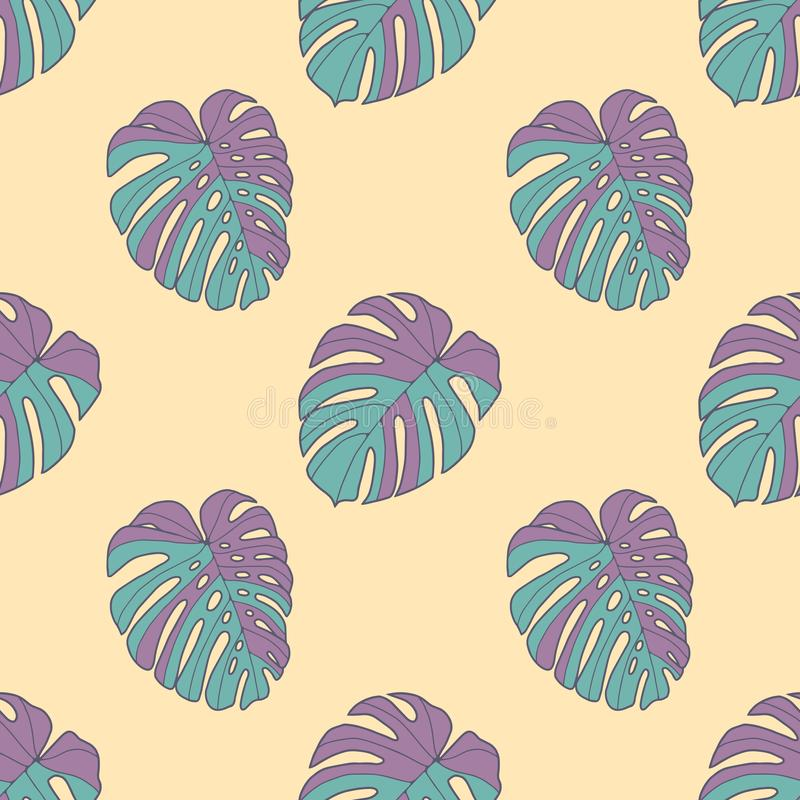 Neon bright graphic illustration seamless pattern with teal and purple monstera deliciosa windowleaf plant leaves on light yellow. Background, drawing vector illustration