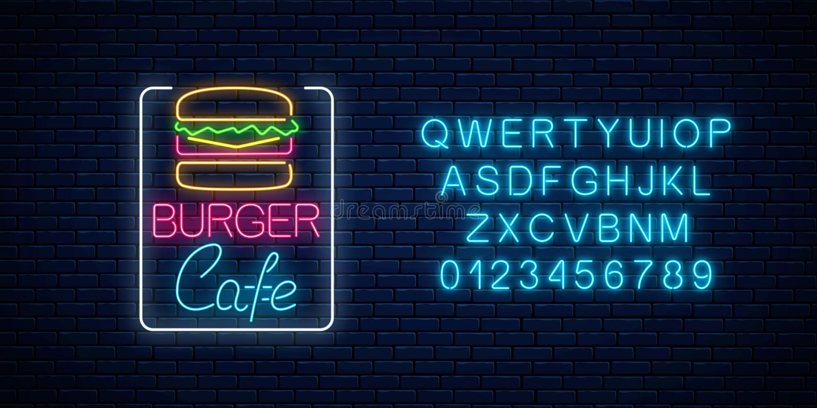 Neon burger cafe glowing signboard with alphabet on a dark brick wall background. Fastfood light billboard sign royalty free illustration