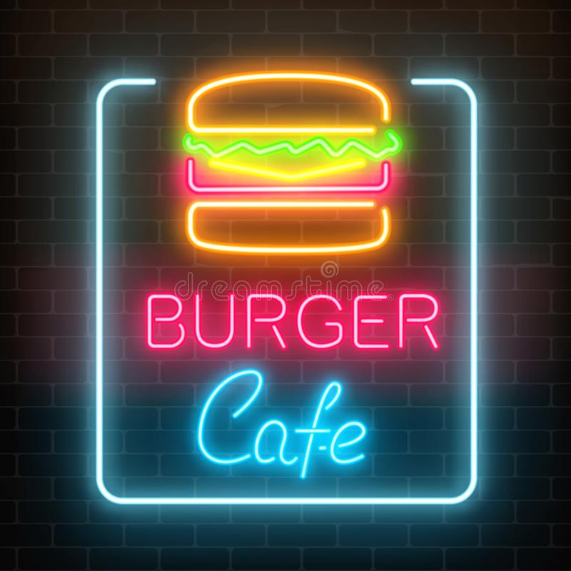 Neon burger cafe glowing signboard on a dark brick wall background. Fastfood light billboard sign. stock illustration