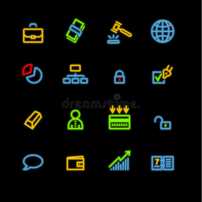 Neon business icons stock illustration