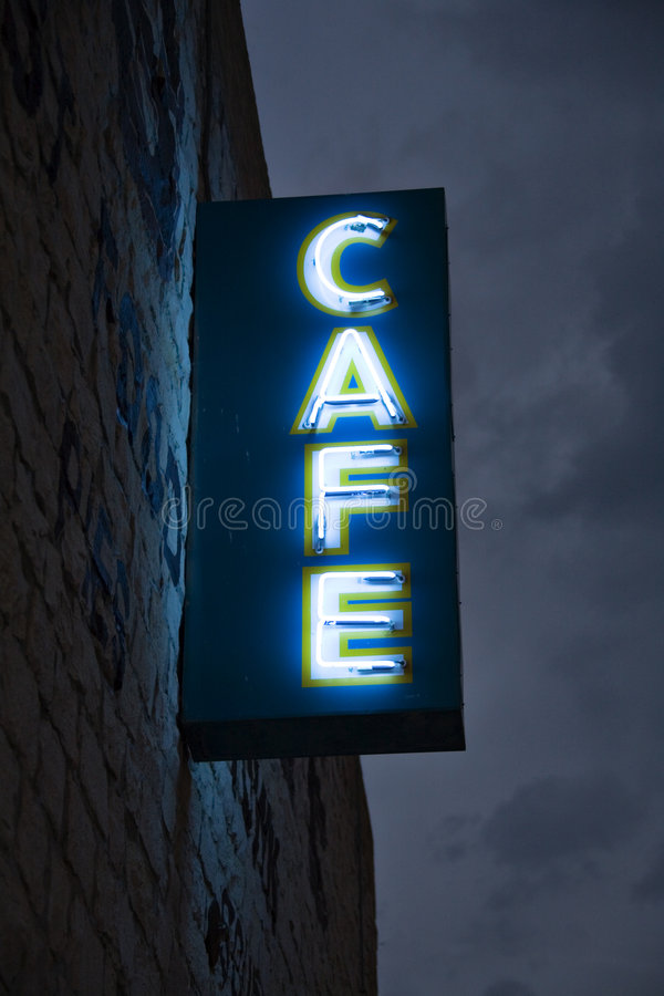 Neon Cafe stock photo