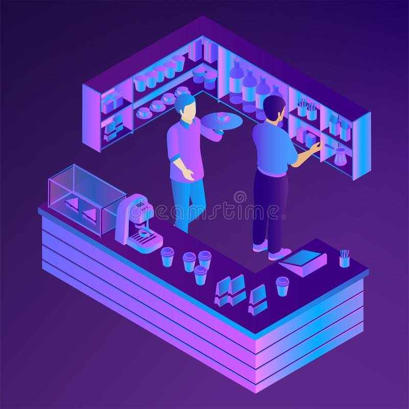 Neon cafe bar counter. Isometric vector vector illustration