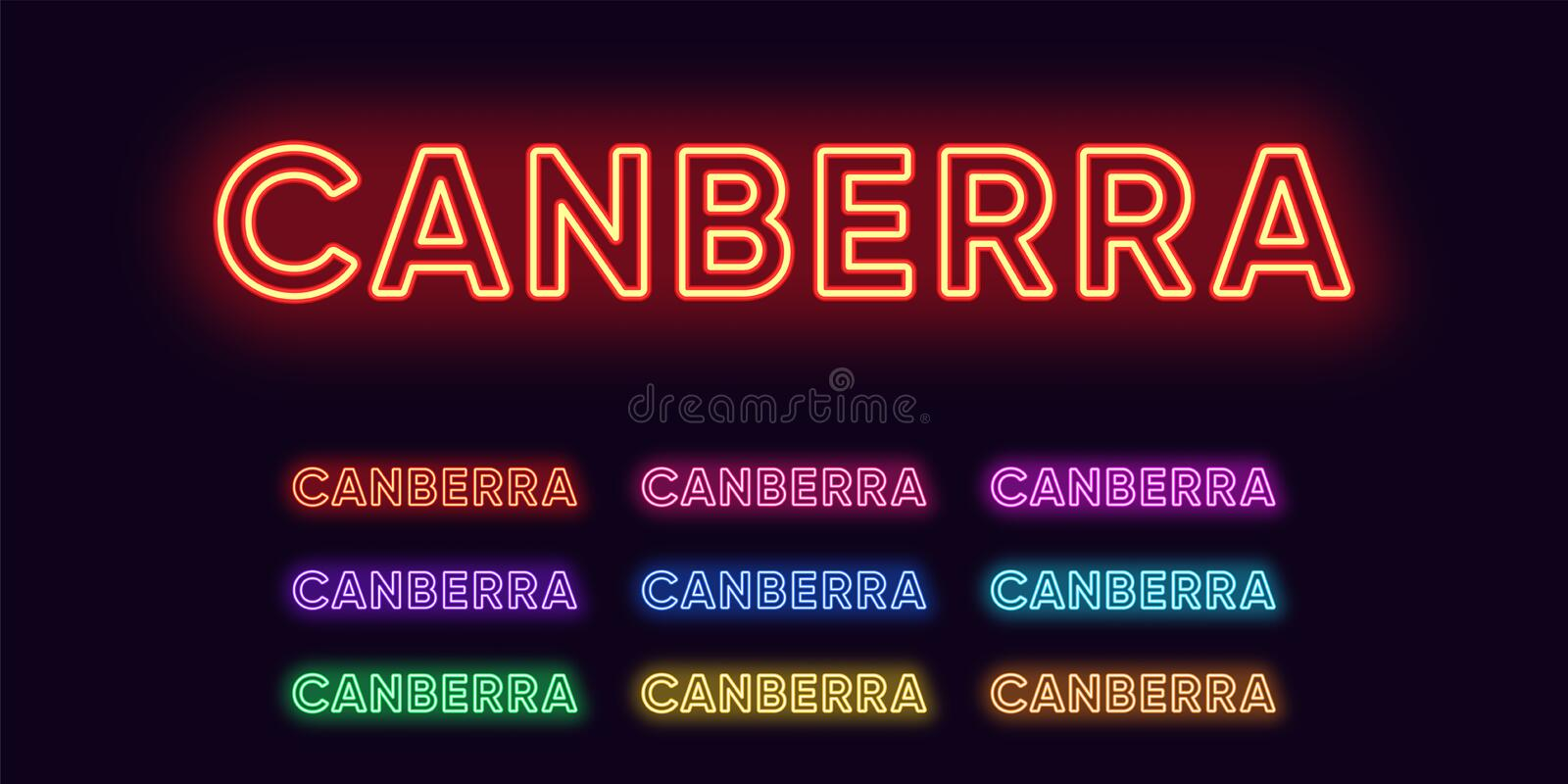 Neon Canberra name, capital city in Australia. Neon text of Canberra city stock illustration