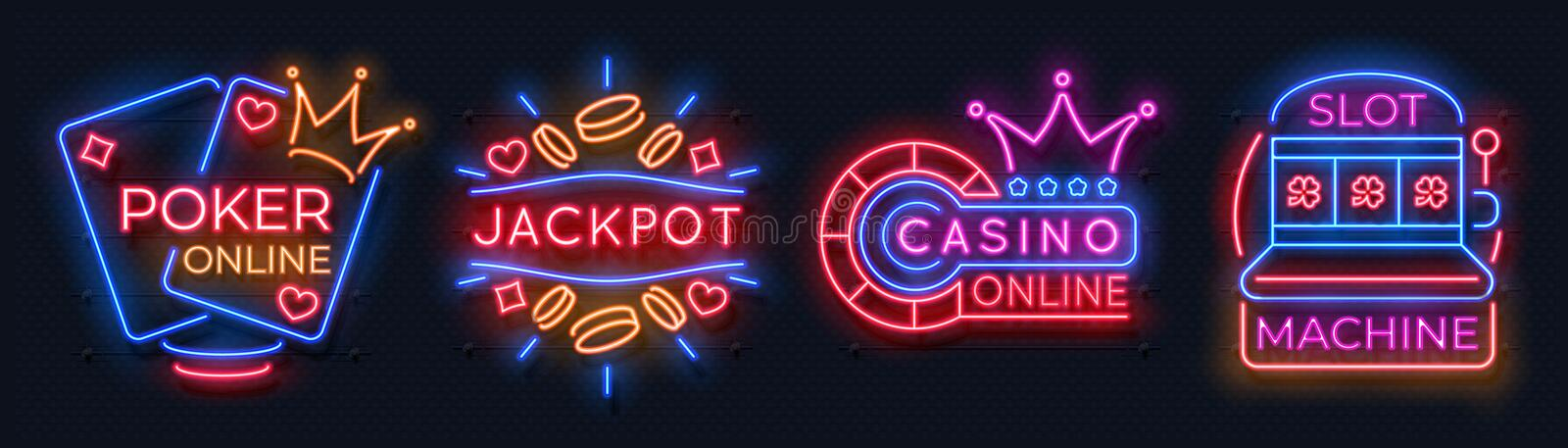 Neon casino banners. Slot machine playing cards lucky roulette gambling signs, online poker game bet. Vector neon casino. Neon casino banners. Slot machine stock illustration