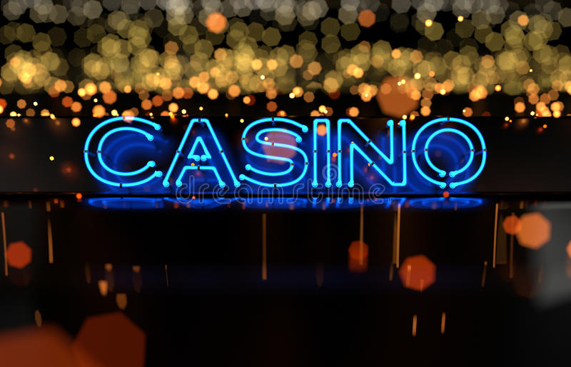 Neon Casino Sign. 3D render stock photo