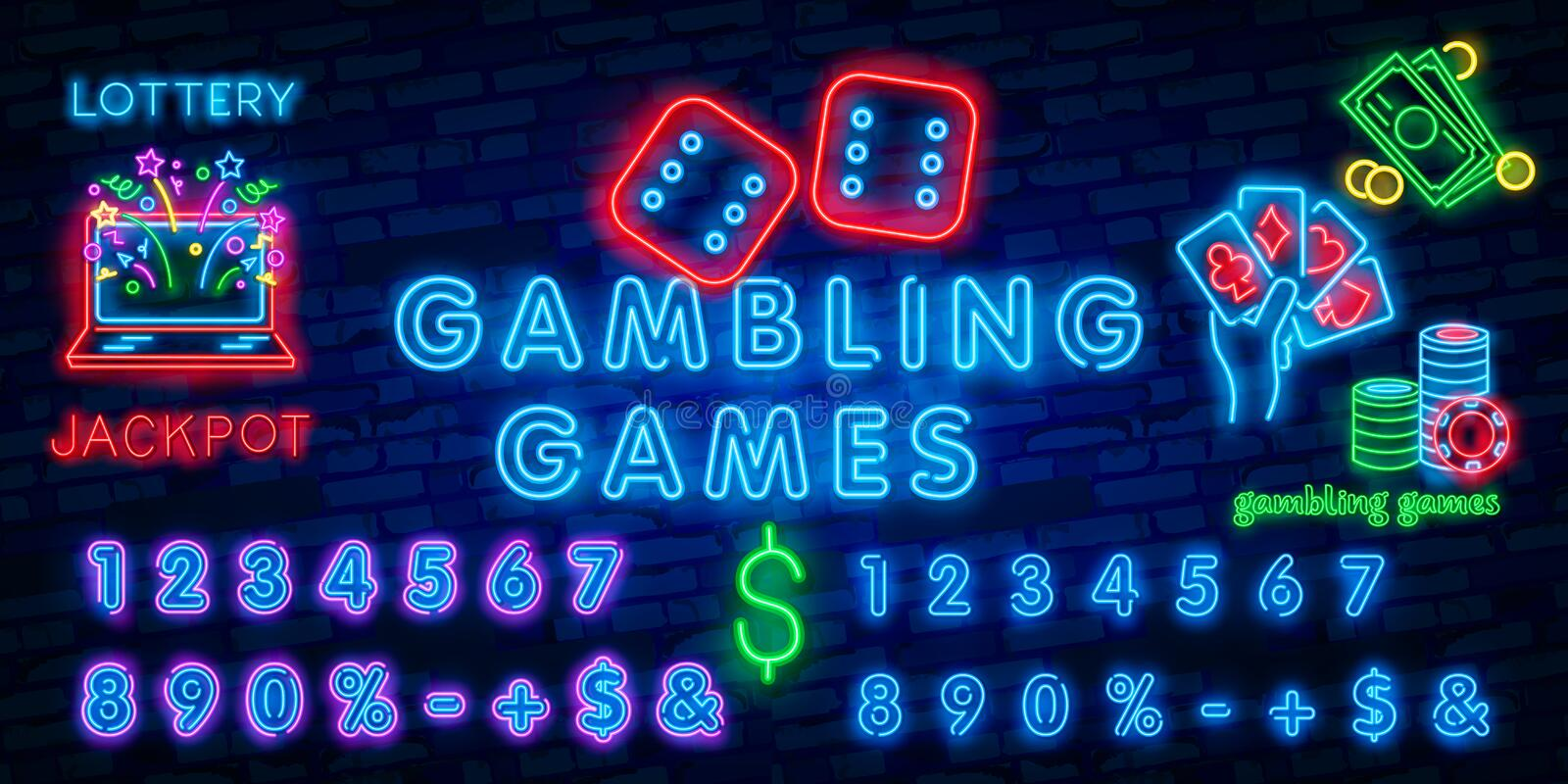 Neon casino sign. Poker, blackjack card suits, spade diamond heart club. Vintage Las Vegas glowing singage banner advertising stock illustration