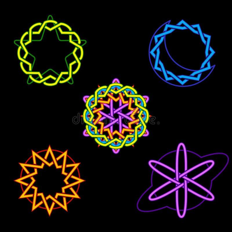 Neon celestial symbols vector illustration