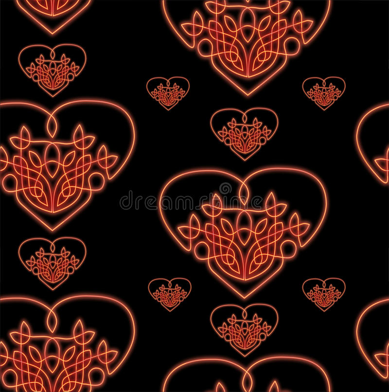 Neon celtic heart seamless. Seamless pattern matching all sides made of celtic style hearts glowing red like a neon signs royalty free illustration