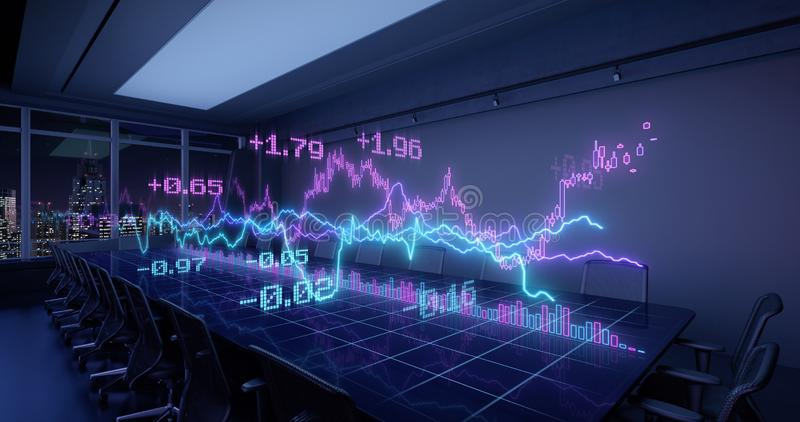 Neon Charts Diagramas de Estadísticas Financieras Crecimiento en la Mesa Nocturna ilustración del vector
