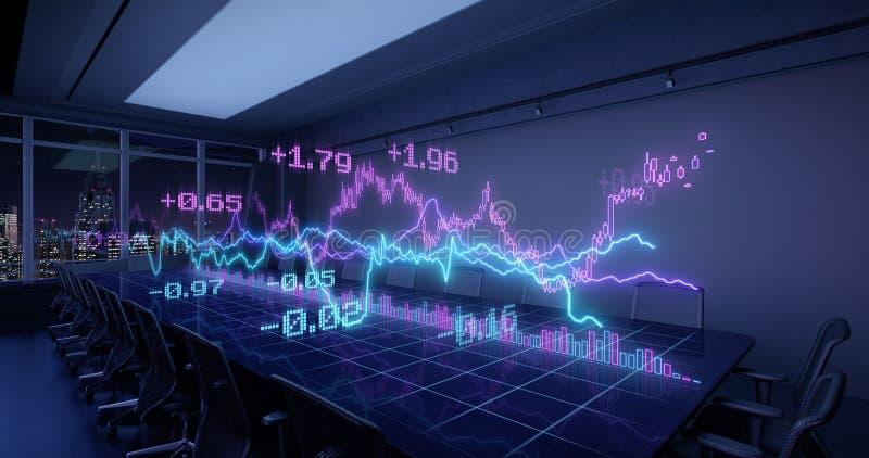 Neon Charts Diagrams del rapporto Statistiche finanziarie Cresce su Tabella in Night Office illustrazione vettoriale